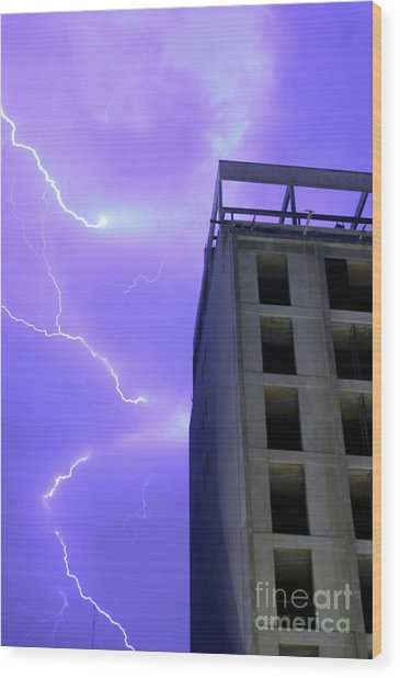 Lightning On Rivadavia 2 Wood Print