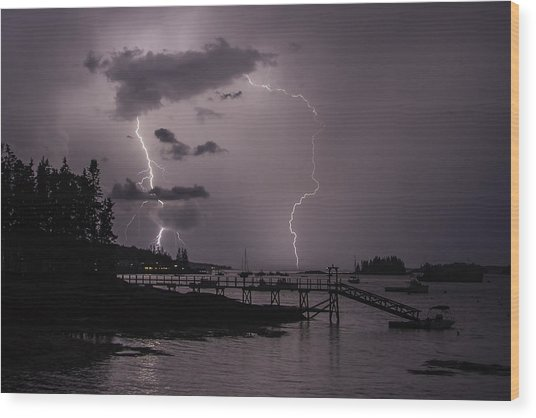 Lightning Over Boothbay Harbor Wood Print