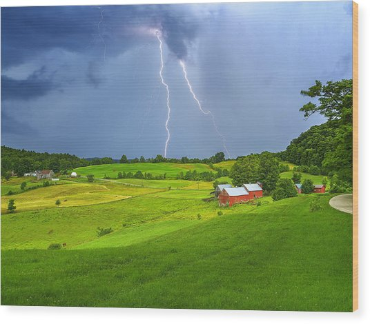 Lightning Storm Over Jenne Farm Wood Print