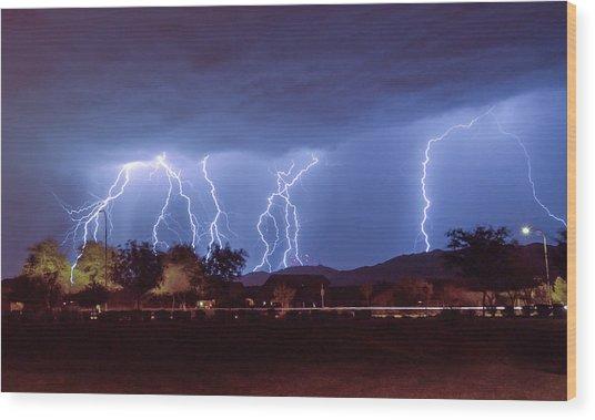 Lightning Over Laveen Wood Print
