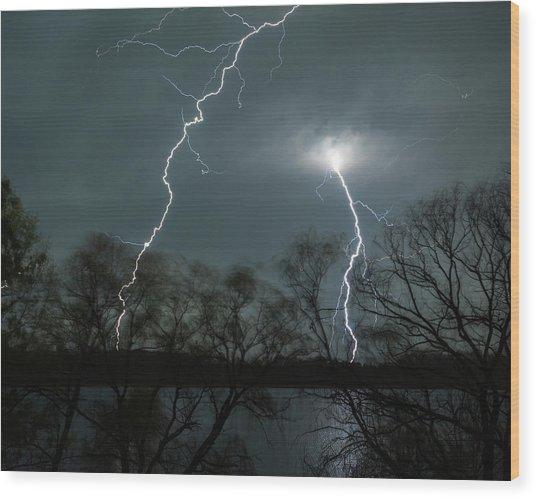 Lightning Over Little Sugarloaf Wood Print