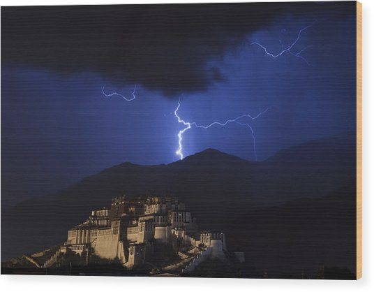 Wood Print featuring the photograph Lightning Over Potala Palace, Lhasa, 2007 by Hitendra SINKAR