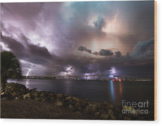 Lightning Over The Sanibel Bridge Wood Print