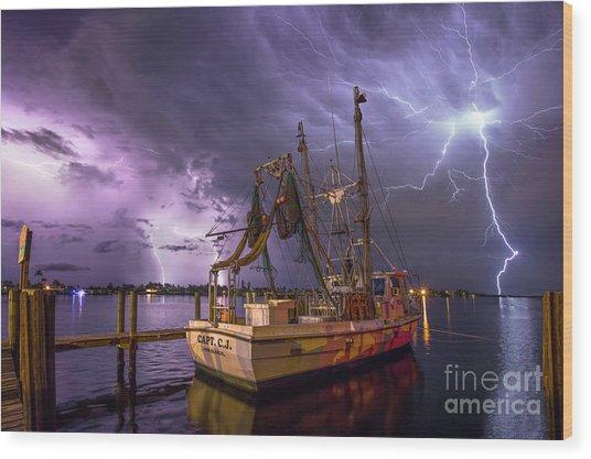 Lightning Over The Horizon Wood Print