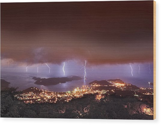 Lightning Over Water Island Wood Print