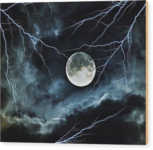 Lightning Sky At Full Moon Wood Print