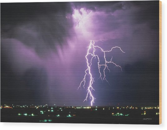 Lightning Storm Wood Print by Leland D Howard