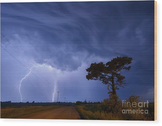 Lightning Storm On A Lonely Country Road Wood Print