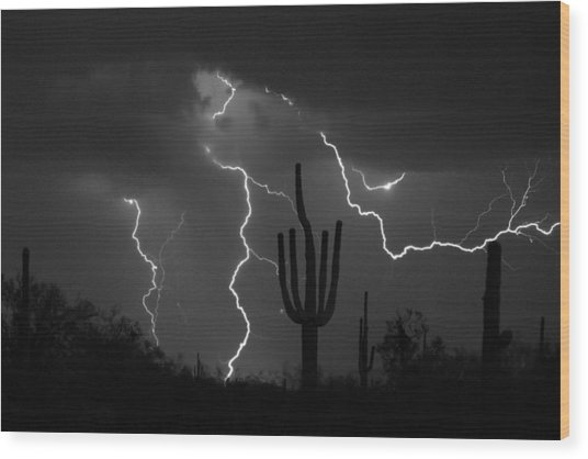 Lightning Storm Saguaro Fine Art Bw Photography Wood Print