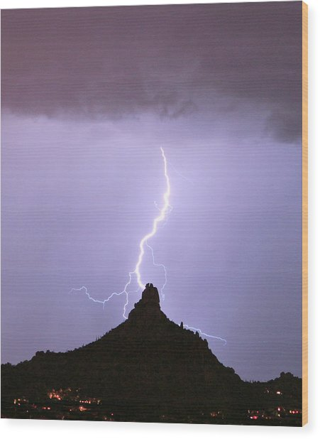 Lightning Striking Pinnacle Peak Scottsdale Az Wood Print