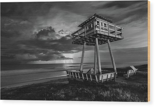 Lightning Watch Tower Wood Print