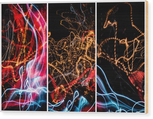 Lightpainting Triptych Wall Art Print Photograph 5 Wood Print