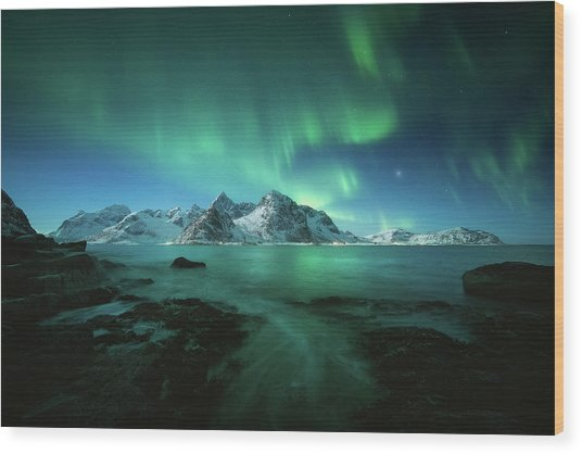Lights Above Lofoten Wood Print