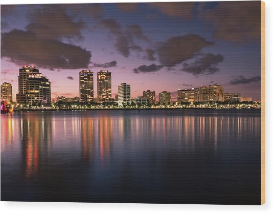 Lights At Night In West Palm Beach Wood Print
