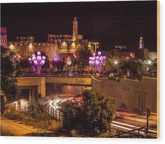 Lights In Jerusalem Wood Print