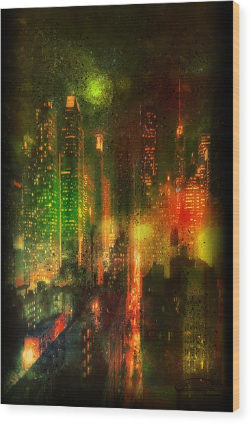 Lights In The City Wood Print by Emma Alvarez