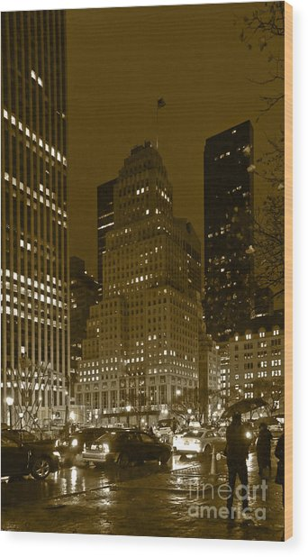 Lights Of 5th Ave. Wood Print