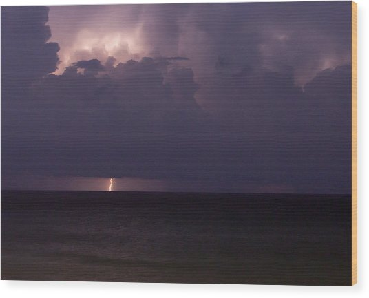 Lights Over The Ocean Wood Print