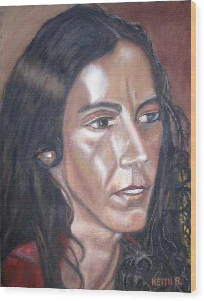 Lights On Her Face Wood Print by Keith Bagg