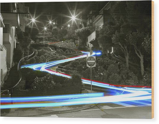 Lights On Lombard Black And White Wood Print