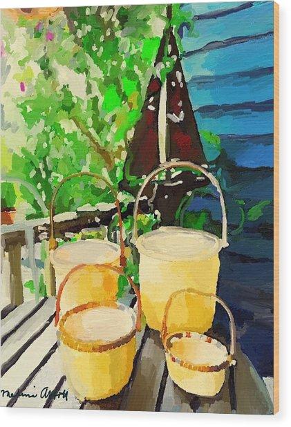 Lightship Baskets And An Old Sailboat Windvane Wood Print