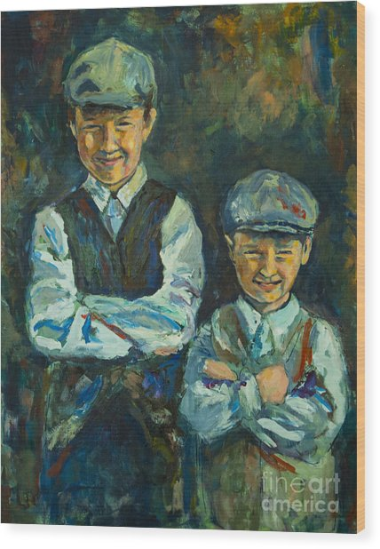 Wood Print featuring the painting Durham Boys by Angelique Bowman