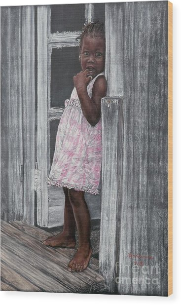 Lil' Girl In Pink Wood Print