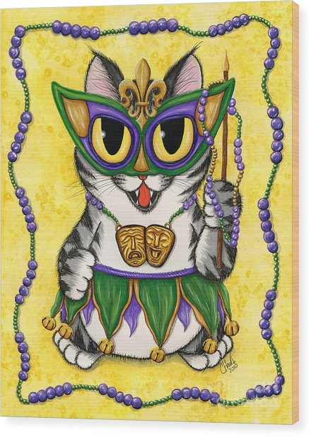 Lil Mardi Gras Cat Wood Print