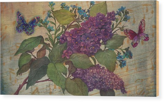 Lilac Dreams Illustrated Butterfly Wood Print
