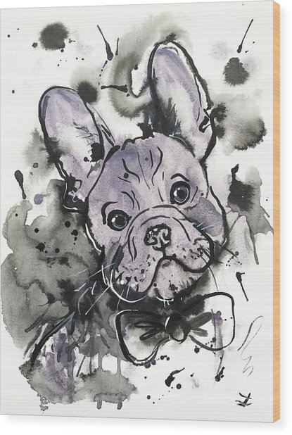 Lilac Frenchie Wood Print