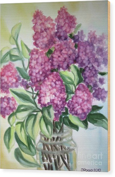 Lilac On The Kitchen Table Wood Print