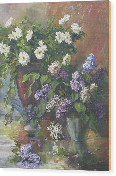 Lilacs And Asters Wood Print
