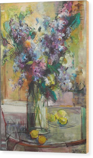 Lilacs And Lemons Wood Print by Blake Originals - Marjorie and Beverly
