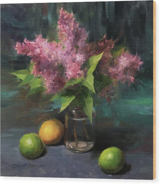 Lilacs And Limes Wood Print