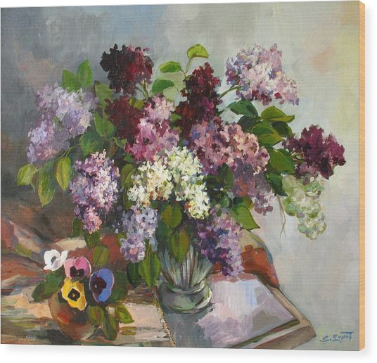Lilacs And Pansies Wood Print