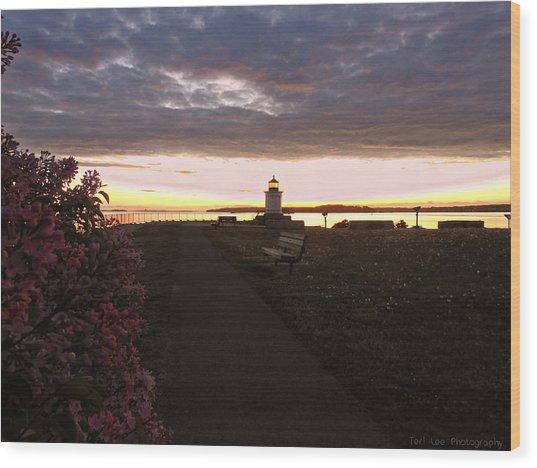 Lilacs At Portland Breakwater Light Wood Print