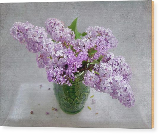 Lilacs In A Green Tankard Still Life Wood Print
