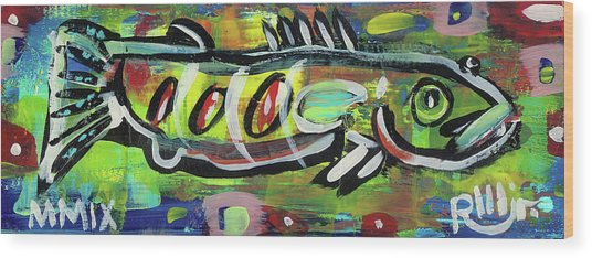 Lil'funky Folk Fish Number Eighteen Wood Print