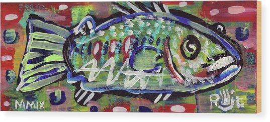 Lil'funky Folk Fish Number Fourteen Wood Print