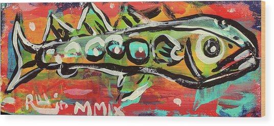 Lil'funky Folk Fish Number Nineteen Wood Print