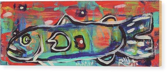 Lil'funky Folk Fish Number Seventeen Wood Print