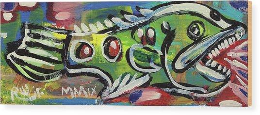 Lil'funky Folk Fish Number Thirteen Wood Print