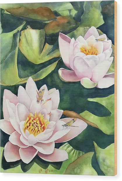 Lilies And Dragonflies Wood Print