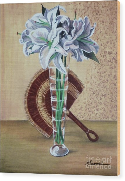 Lilies And Fan Wood Print by Marcella Muhammad