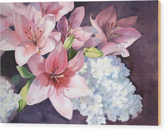 Lilies And Hydrangeas - II Wood Print