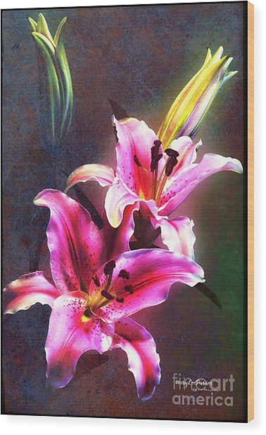 Lilies At Night Wood Print