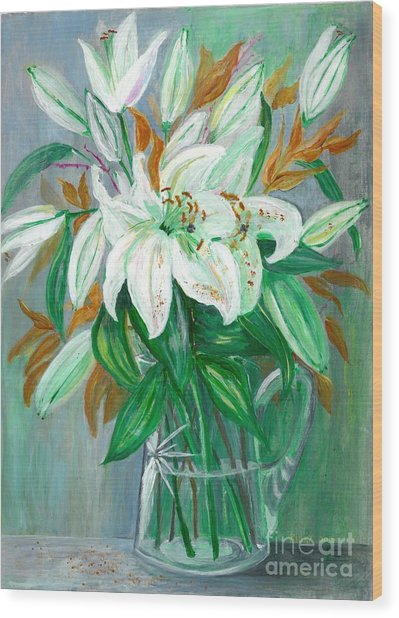 Lilies In A Glass Vase - Painting Wood Print
