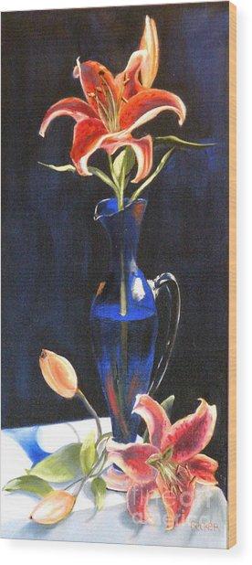 Lilies In Cobalt Wood Print by Susan A Becker