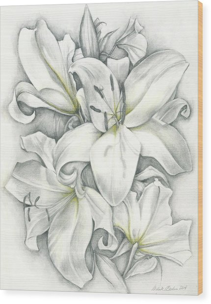 Lilies Pencil Wood Print