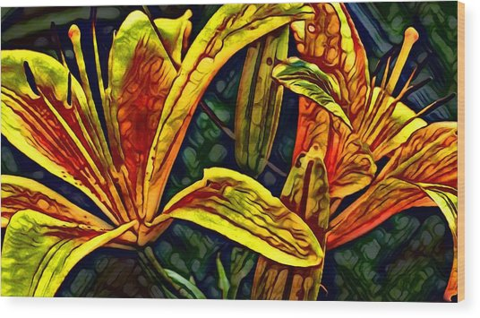 Lilly Fire Wood Print